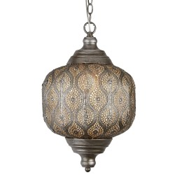 Searchlight 1 Light Moroccan Metal Pendant Antique Silver - 1.2m Drop
