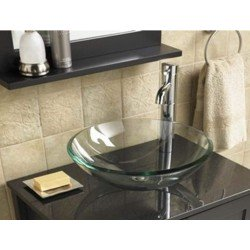 NECHT 42cm Bathroom Cloakroom Countertop Clear or Aquamarine Glass Basin Sink Bowl