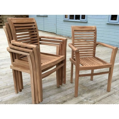 Solid Teak Stacking garden Chairs