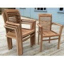 Solid Teak Hardwood Stacking Garden Chairs - RRP 160