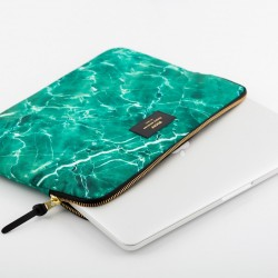 "WOOUF MacBook Pro 13"" Protective Padded Sleeve Case, Green Marble."