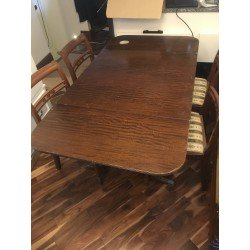 Regency Style Mahogany Drop Leaf Table + 4 Chairs