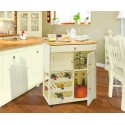Country Kitchen Wooden Mobile Island Pantry Cabinet - Cream