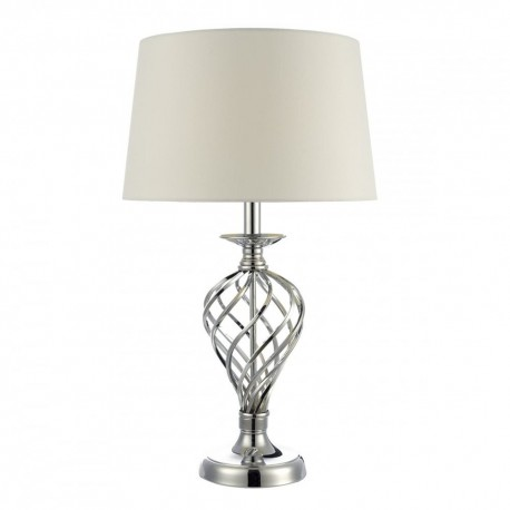 LUMIS POLISHED CHROME TWIST CAGE LE LAMP, IVORY LINEN SHADE - TWIN PACK