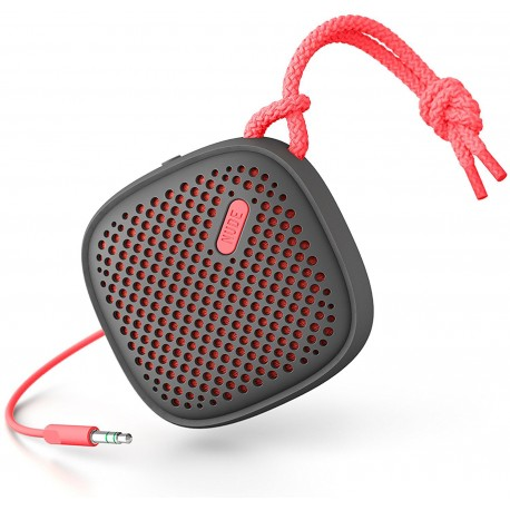 Nudeaudio Move S Portable 3.5mm Universal Wired Speaker - Charcoal/Coral
