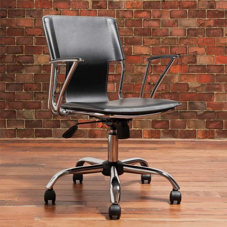 Dorado Office Chair in Black with Accent Stitching