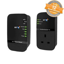 BT Wi-Fi Home Hotspot Plus 600 Kit - Passthrough Powerline + WiFi Booster Kit