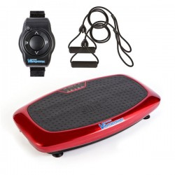 Vibrapower Slim 2 Vibration Plate with Remote Watch + Resistance Bands  - Red RRP £199
