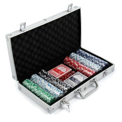300 pc Pro Poker Set 11.5g Chips 2 Decks 5 Dice, Aluminium Carry Case