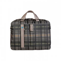 Piquadro - CA3347P16 Folio Bag With 2 Handles in Leather and Fabric -  P16